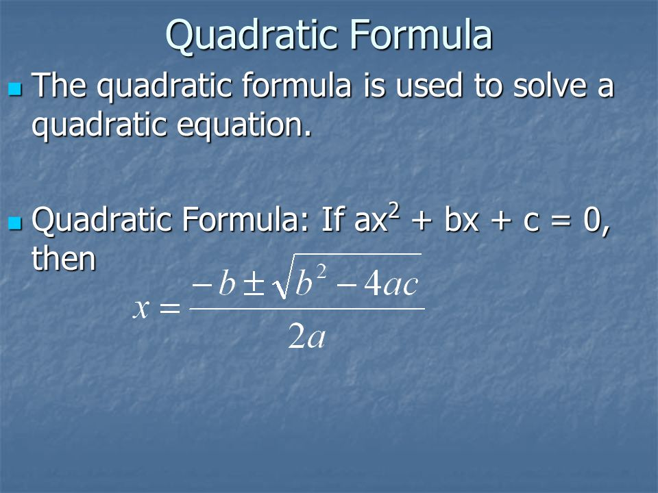 how to solve quadratic formula excel