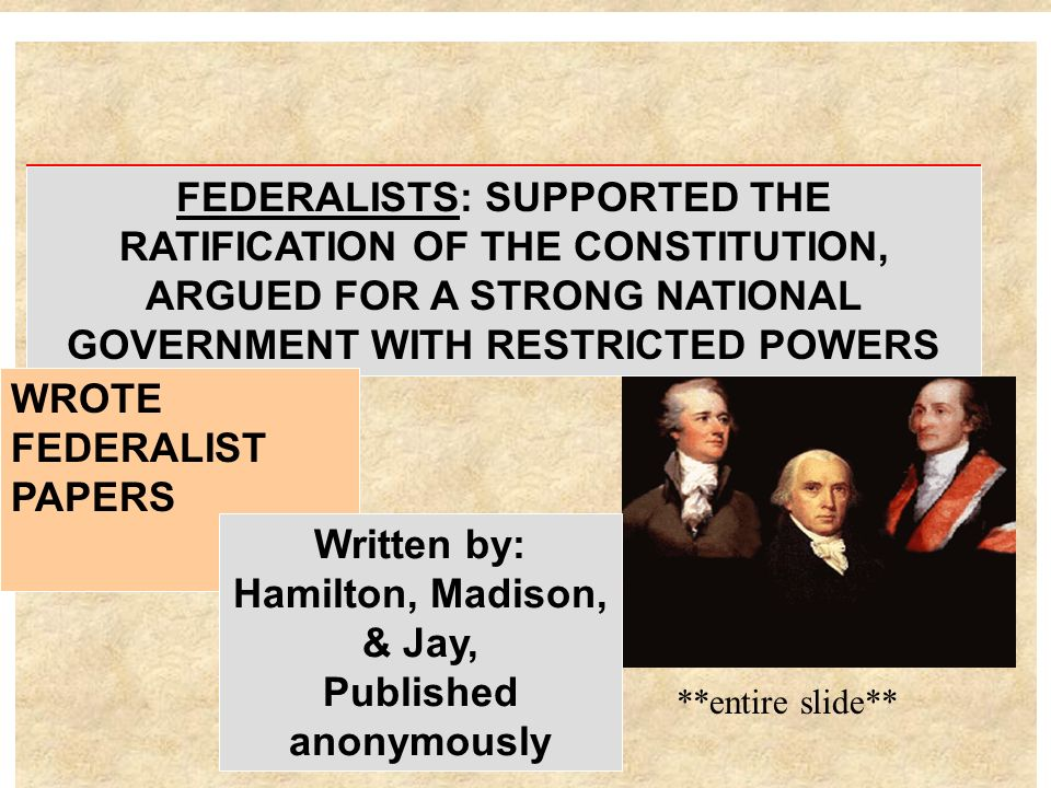FEDERALISTS: SUPPORTED THE