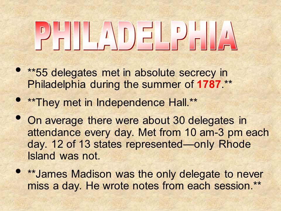 PHILADELPHIA **55 delegates met in absolute secrecy in Philadelphia during the summer of 1787.** **They met in Independence Hall.**