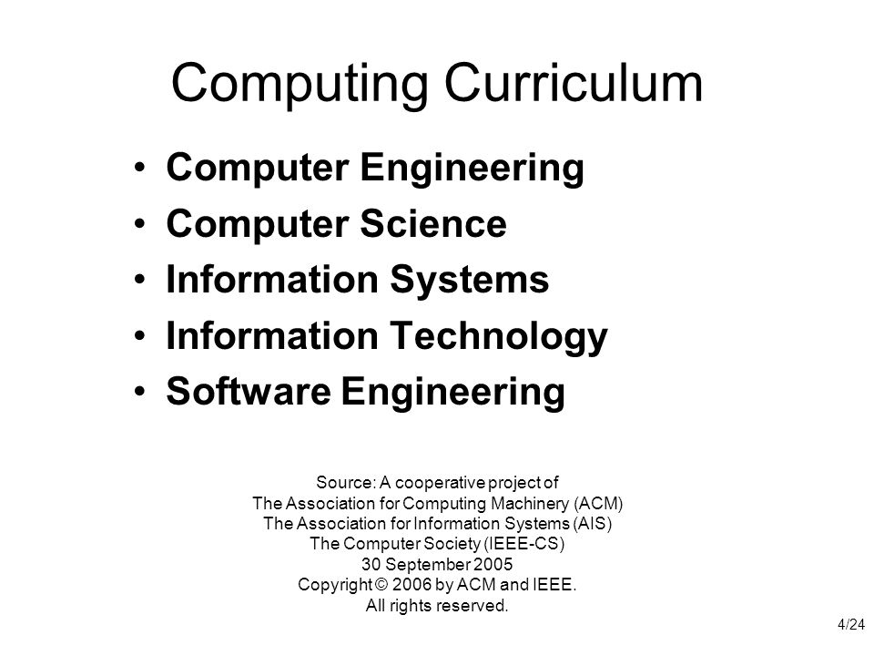 Computing Curriculum Computer Engineering Computer Science