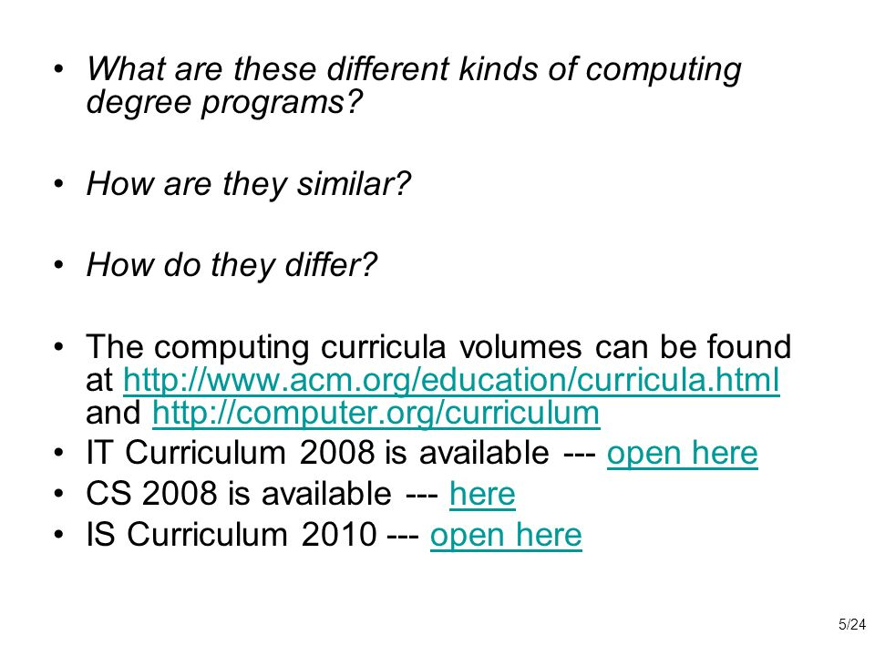 What are these different kinds of computing degree programs