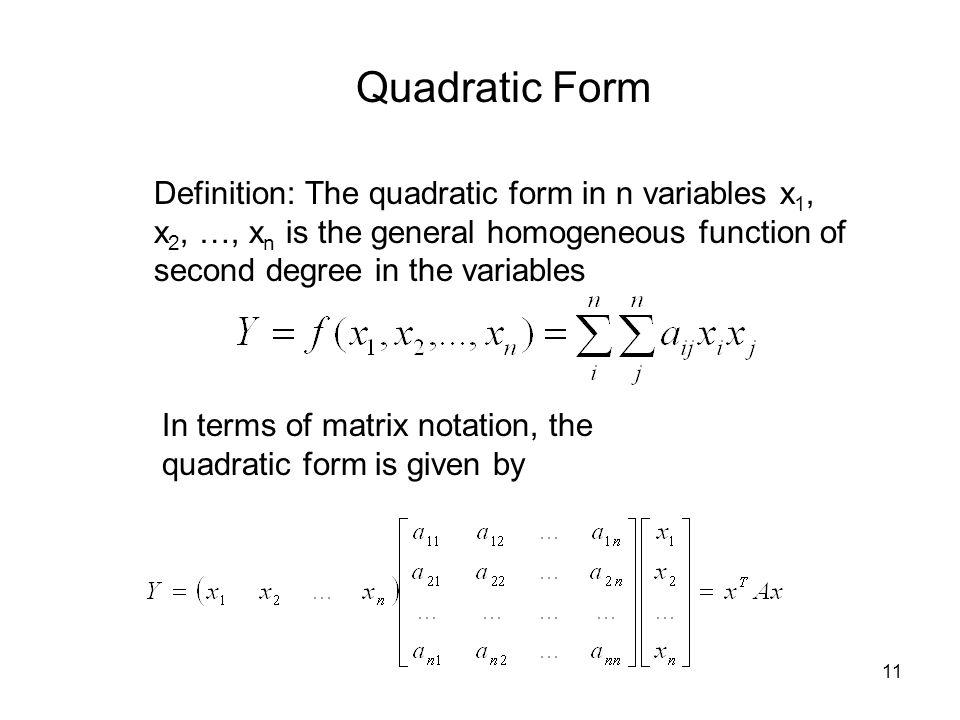 Quadratic Forms, Characteristic Roots and Characteristic Vectors ...