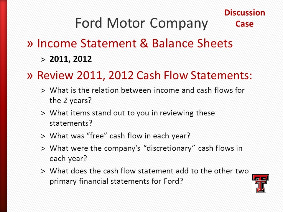 Ford motor pany balance sheet for Ford motor company income statement
