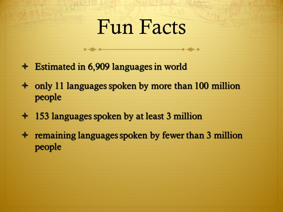 Fun Facts Estimated in 6,909 languages in world