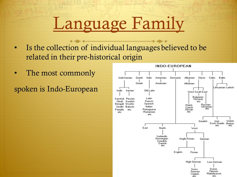 Language Family Is the collection of individual languages believed to be related in their pre-historical origin.