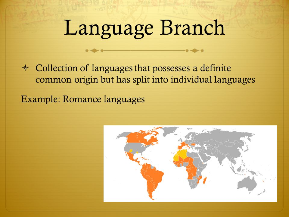 Language Branch Collection of languages that possesses a definite common origin but has split into individual languages.