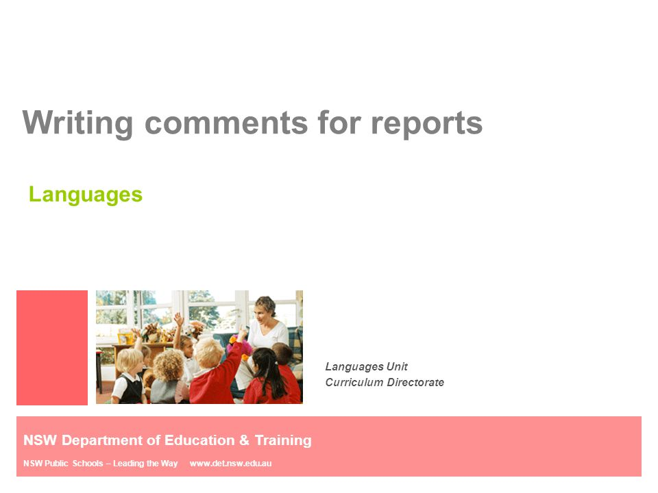 Report Comments for Characteristics of Learning Teach Starter
