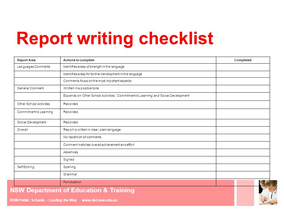 teach report writing The report writing guide - teaches children about the purpose of report writing, types of reports, researching and facts koala report example - an example of a report that your children can analyse, review and try to improve.