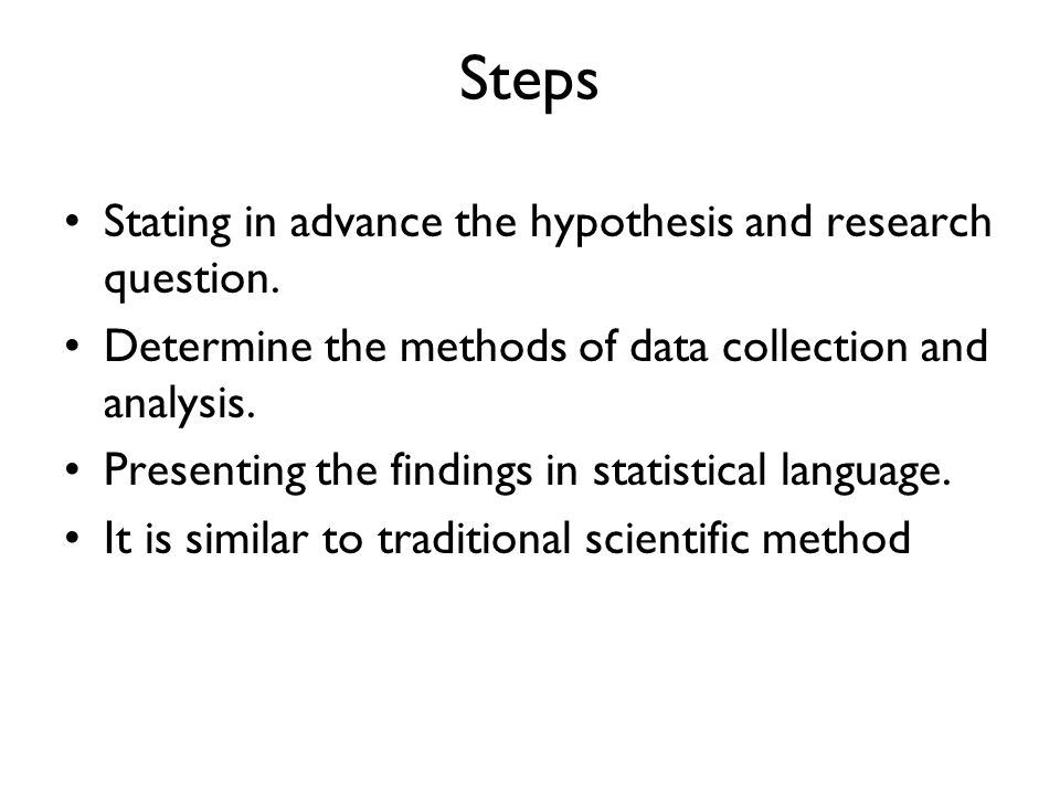 Hypothesis and research questions