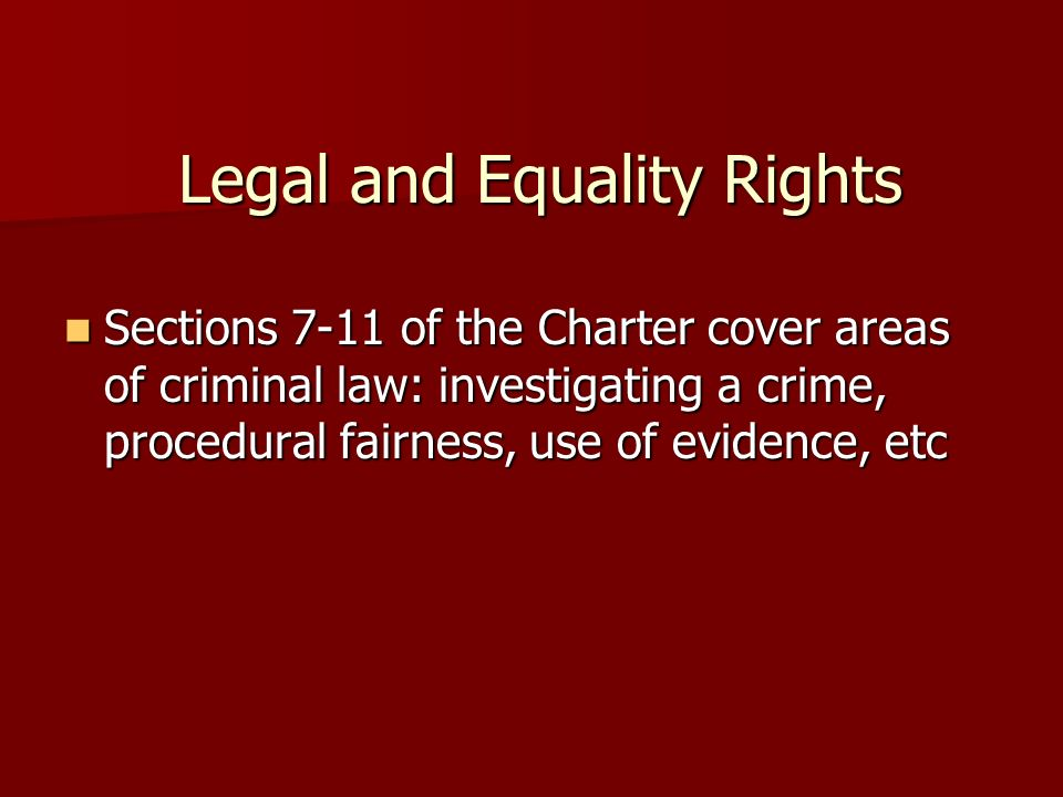 Legal and Equality Rights
