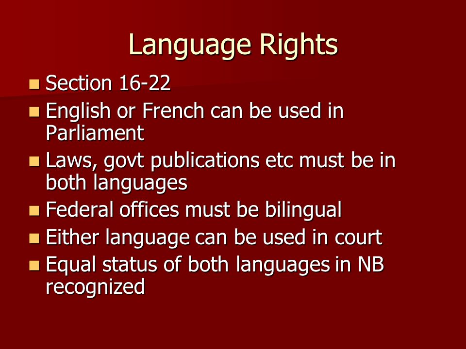 Language Rights Section 16-22