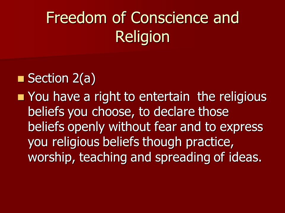 Freedom of Conscience and Religion