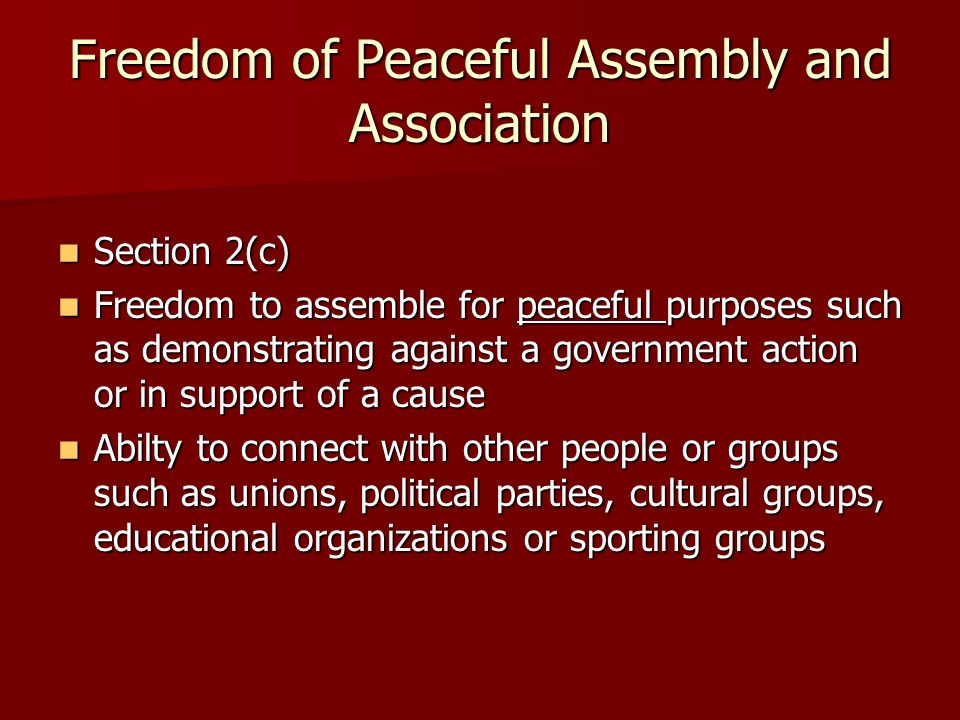 Freedom of Peaceful Assembly and Association