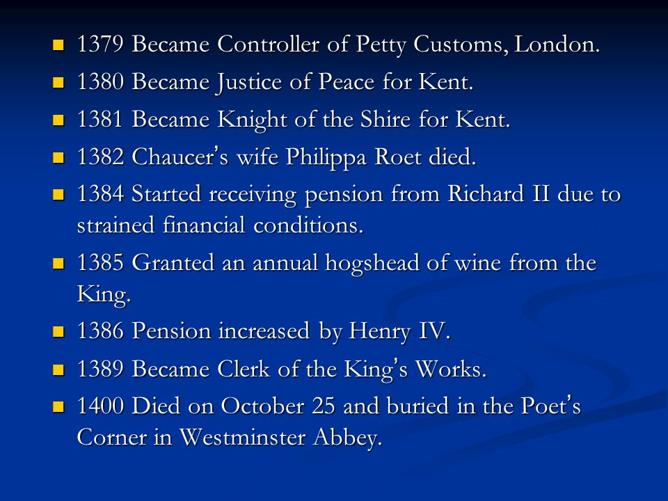 1379 Became Controller of Petty Customs, London.