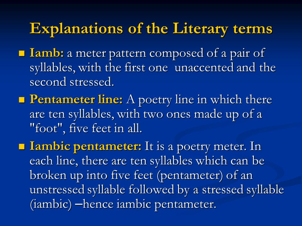Explanations of the Literary terms