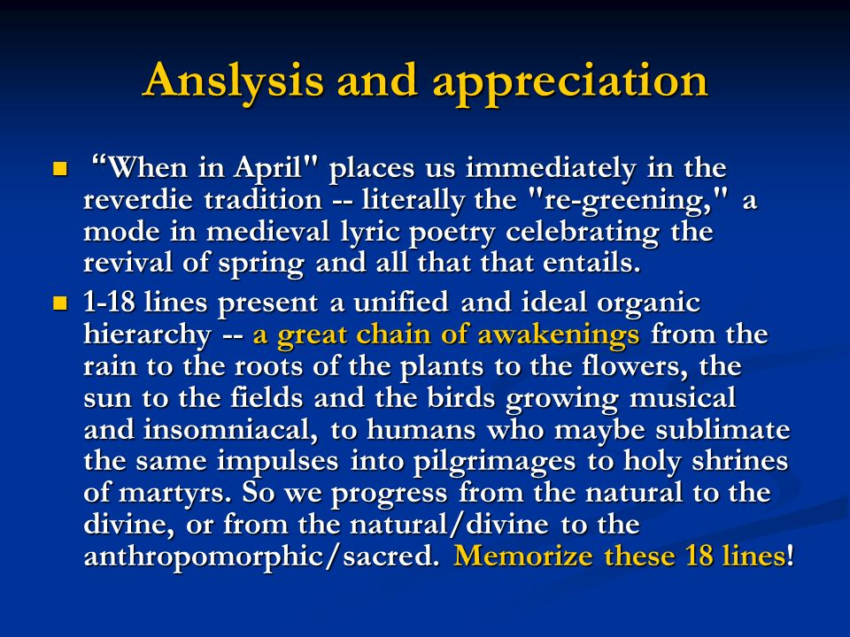 Anslysis and appreciation