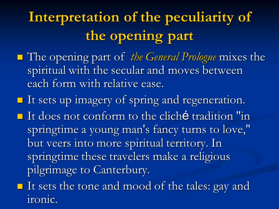 Interpretation of the peculiarity of the opening part