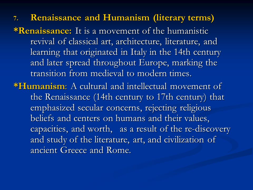 Renaissance and Humanism (literary terms)