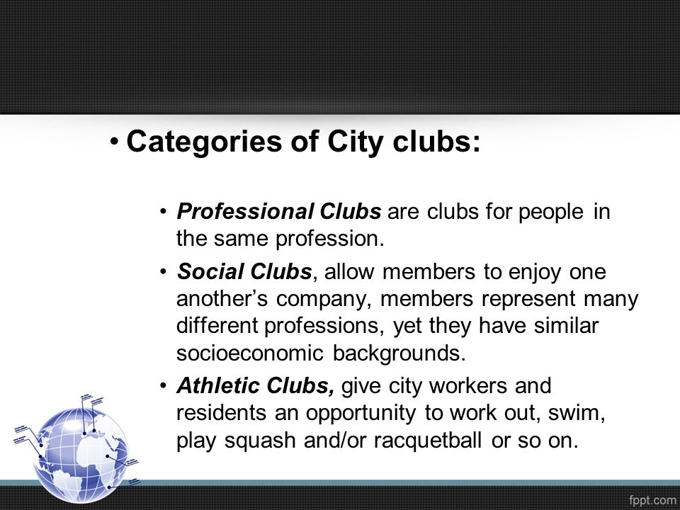 Categories of City clubs: