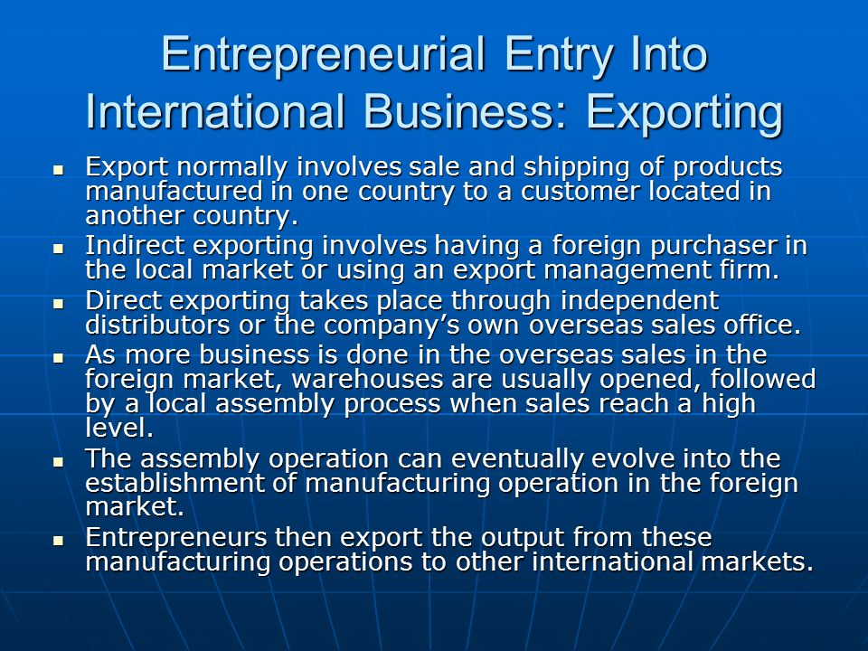 Entrepreneurial Entry Into International Business: Exporting
