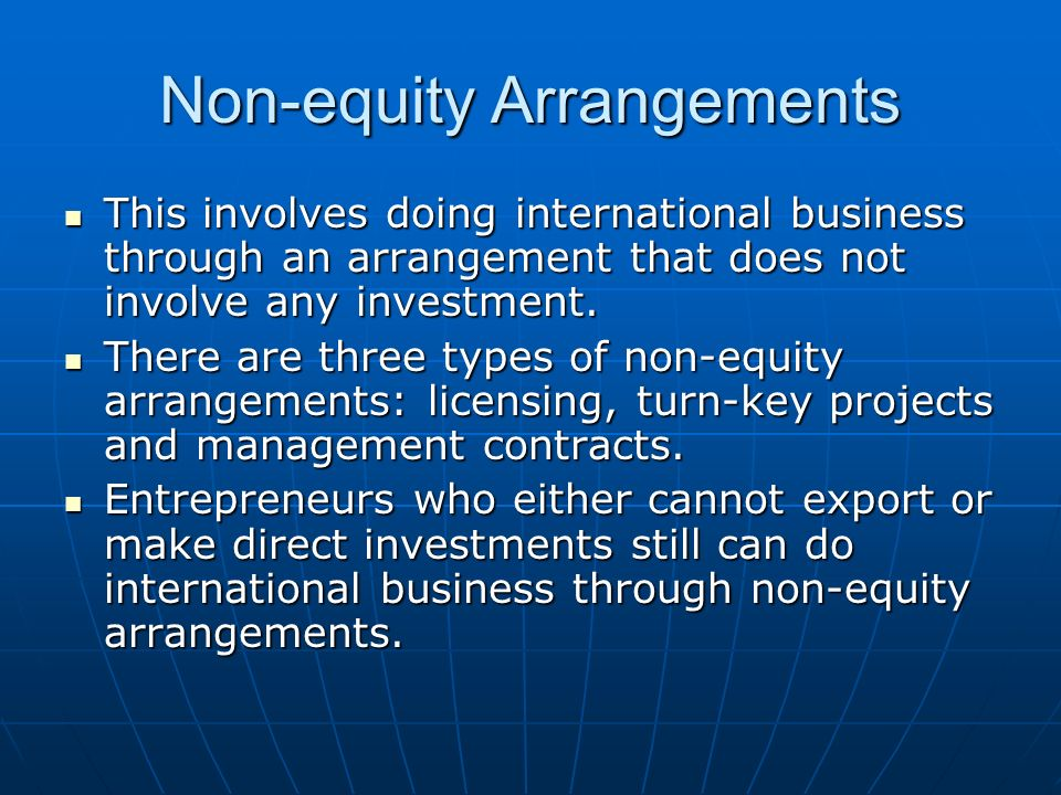 Non-equity Arrangements