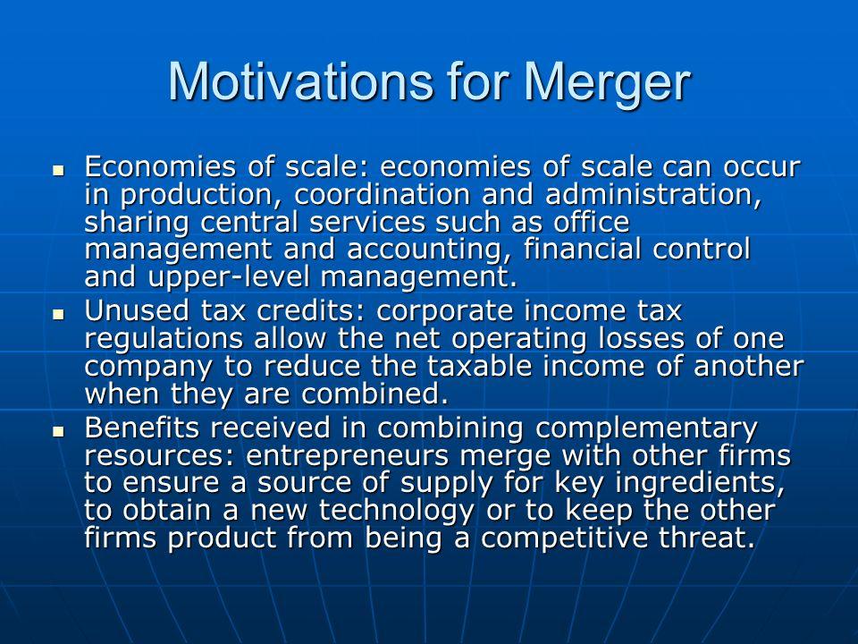 Motivations for Merger