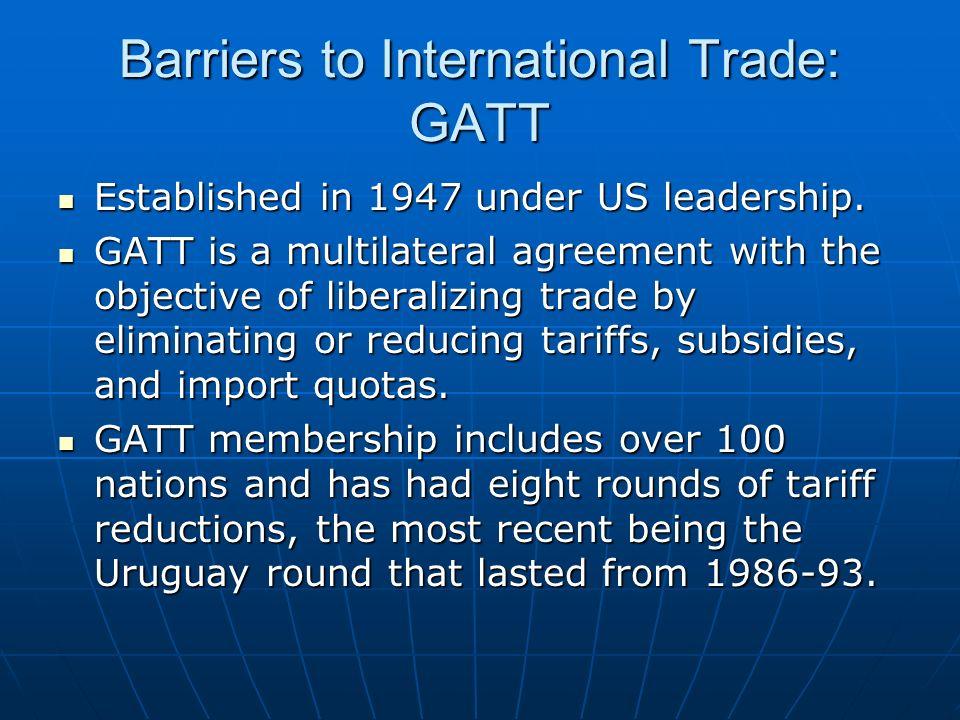 Barriers to International Trade: GATT