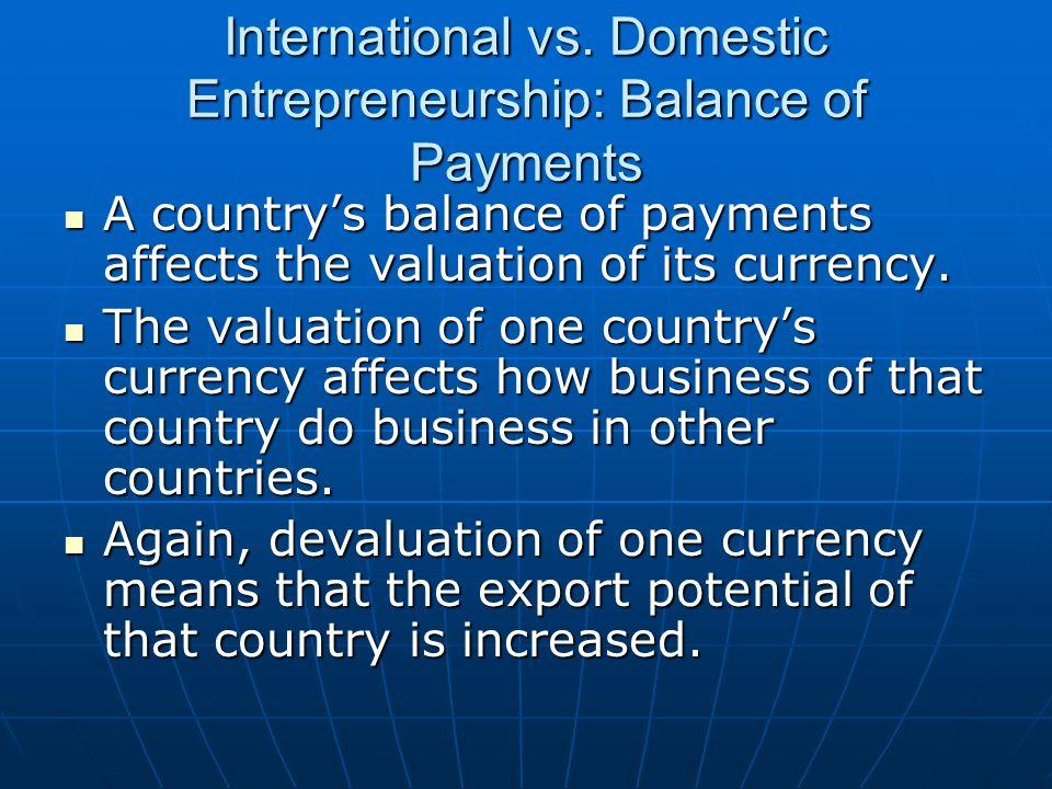 International vs. Domestic Entrepreneurship: Balance of Payments