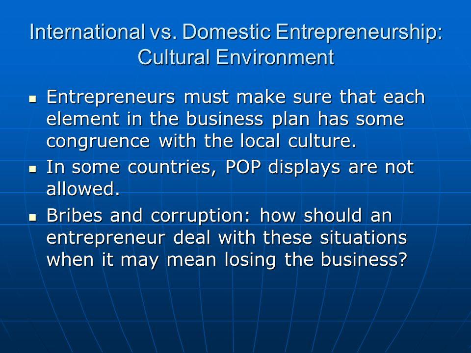 International vs. Domestic Entrepreneurship: Cultural Environment