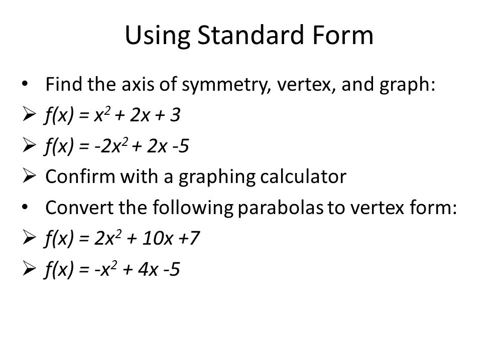 how to find vertex in stand form