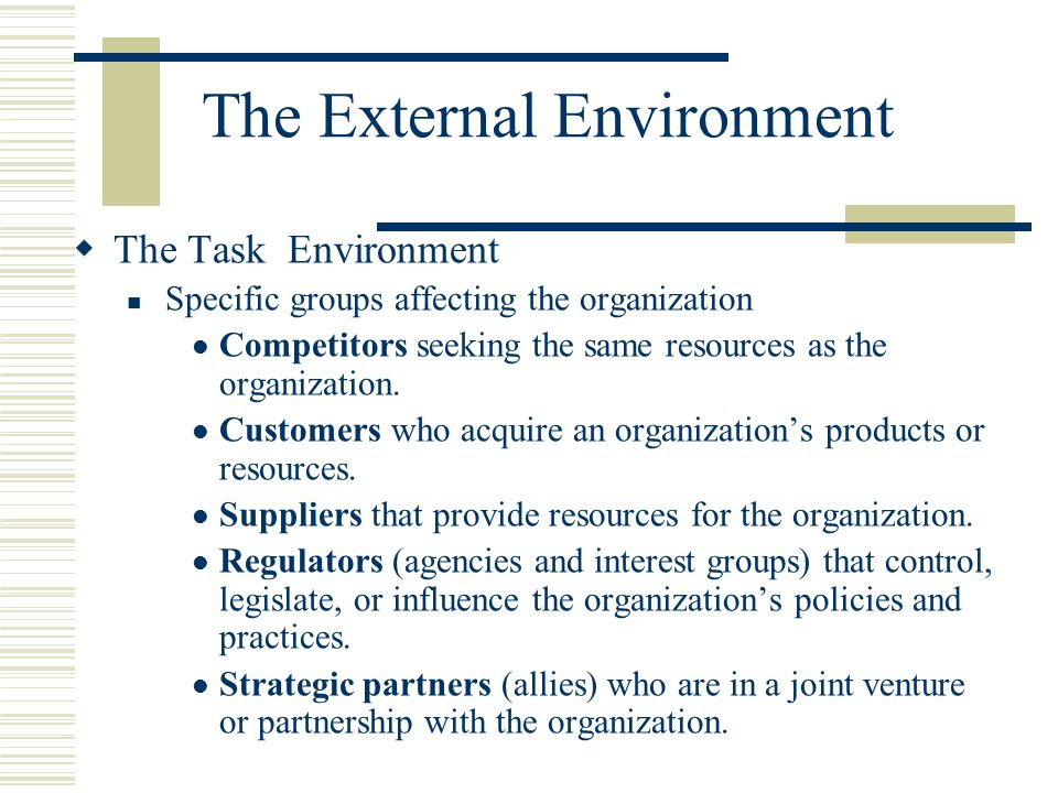 external environment and organization's strategy The importance of strategy strategic management is in the external environment key strategic strategic management in large organizations.