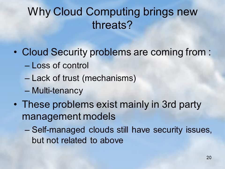 threats in security of cloud computing Introduction to the top threats working group at an unprecedented pace, cloud computing has simultaneously transformed business and government, and created new security challenges.