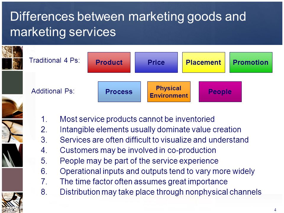 difference between service marketing and goods The service-product distinction the distinction between products and services  has a long history in marketing and other disciplines, namely operations.