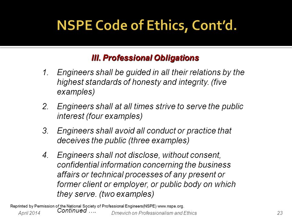 Professionalism And Ethics In The Practice Of Professional