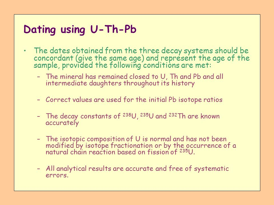 u th pb dating Trond slagstad ngu-bull 446, 2006 - page 13 in contrast to electron microprobes that are commonly equipped with several wd spectrometers allowing simulta-neous analysis of y,pb,th and u,the.