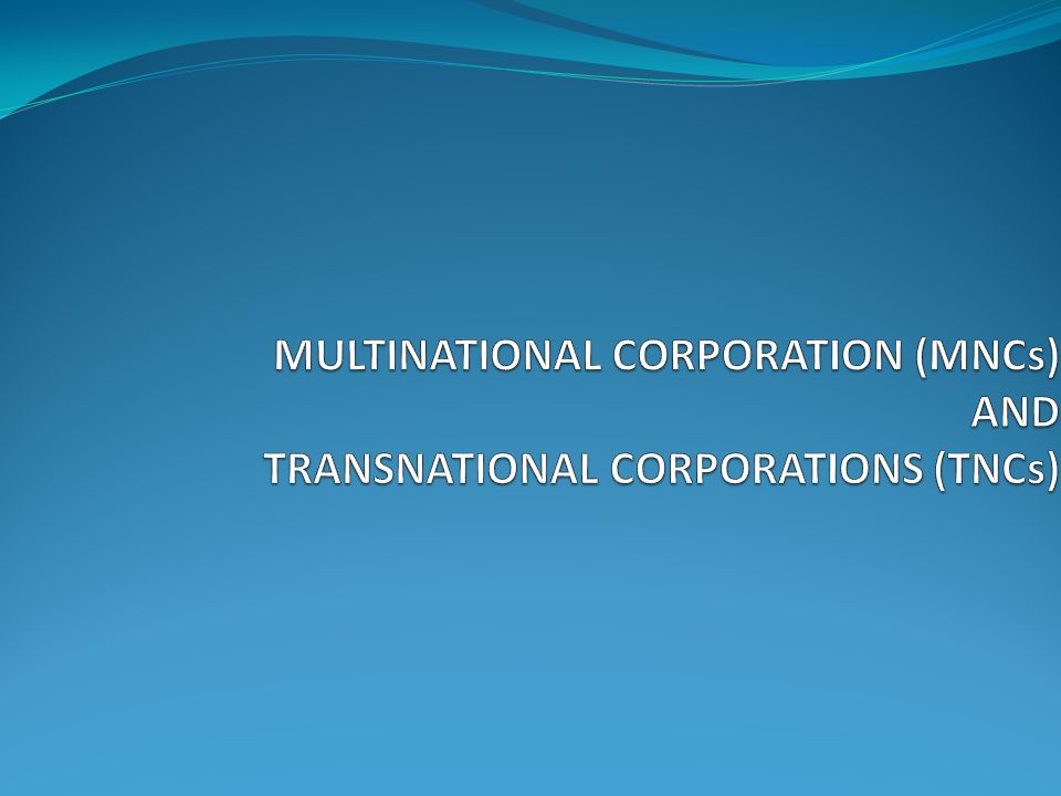 Transnational corporation example