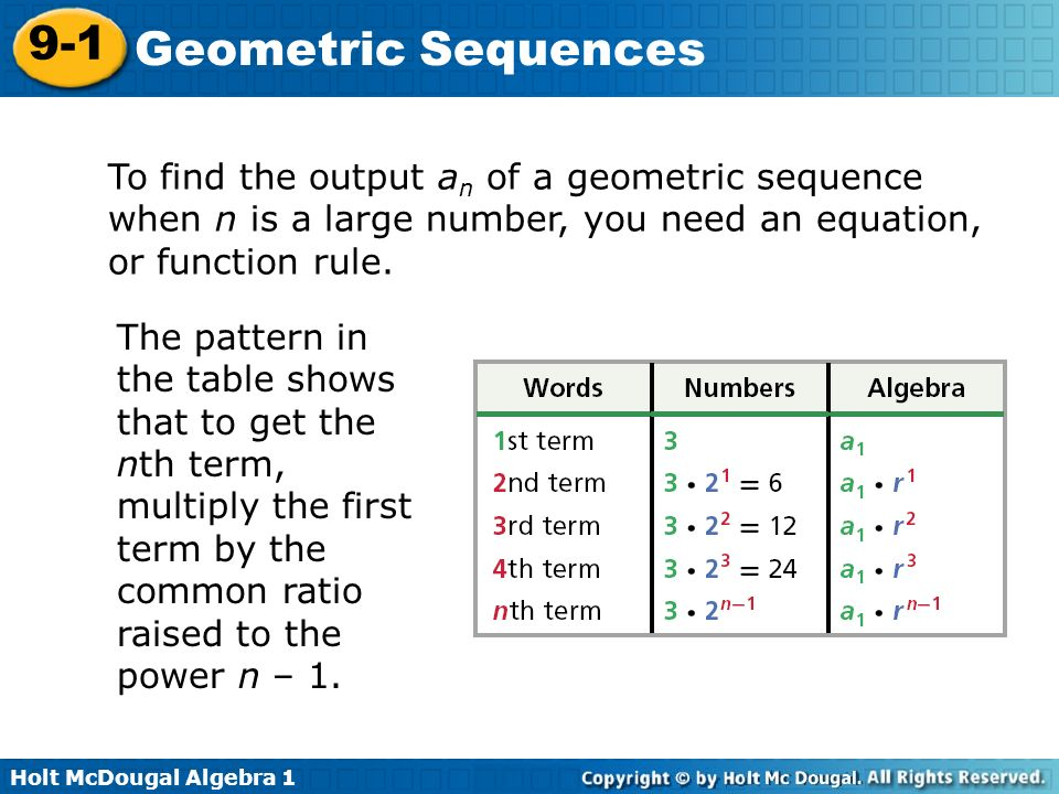 9 1 geometric sequences warm up lesson presentation lesson for Table th nth