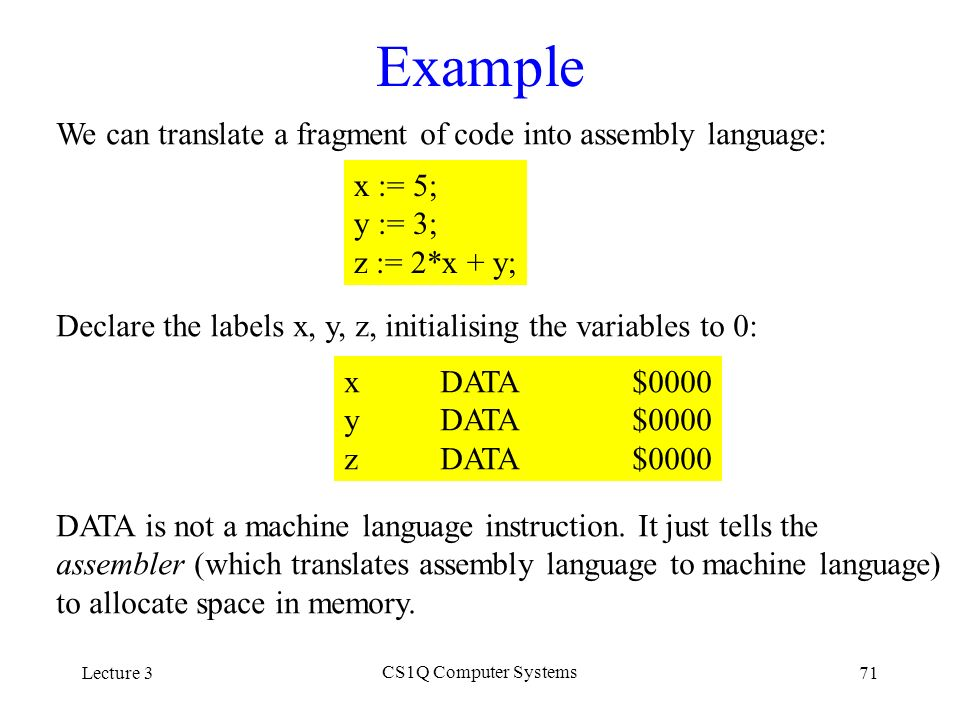Learn computer machine language examples