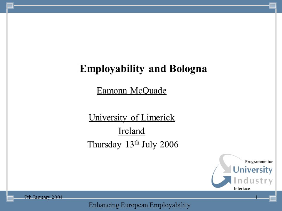 Employability and Bologna