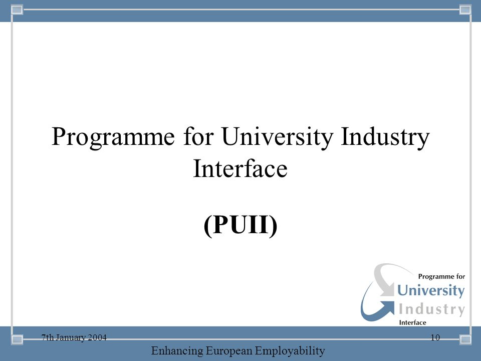 Programme for University Industry Interface