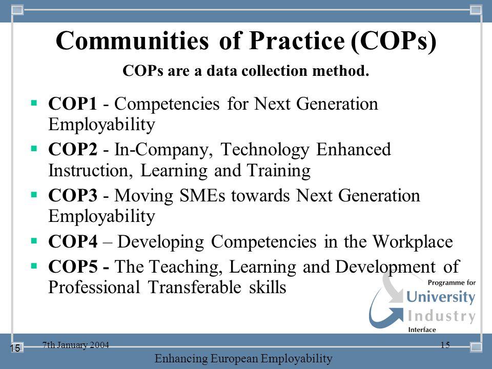 Communities of Practice (COPs)