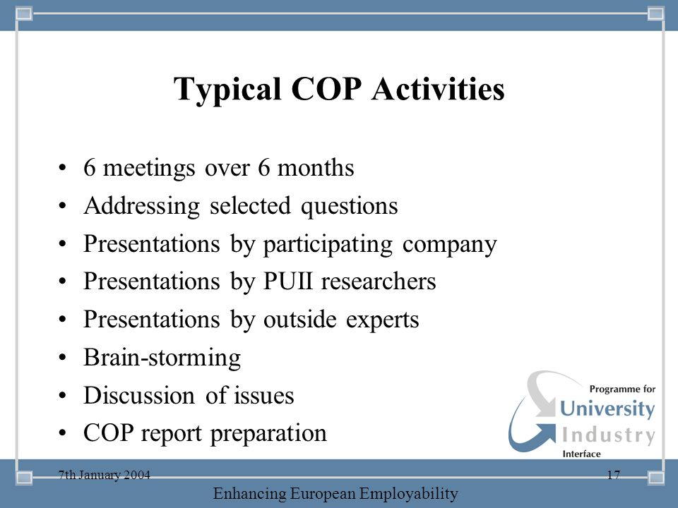 Typical COP Activities