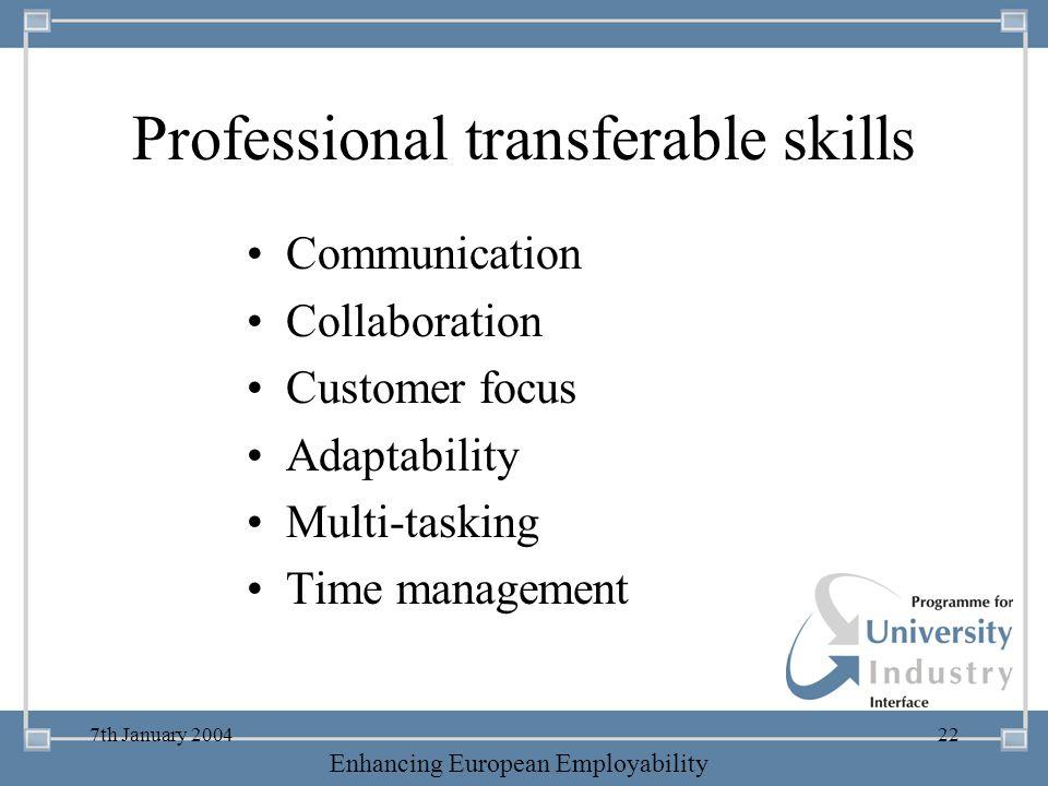 Professional transferable skills