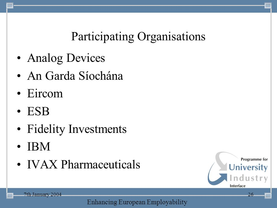 Participating Organisations