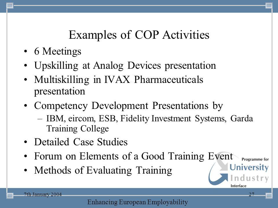 Examples of COP Activities