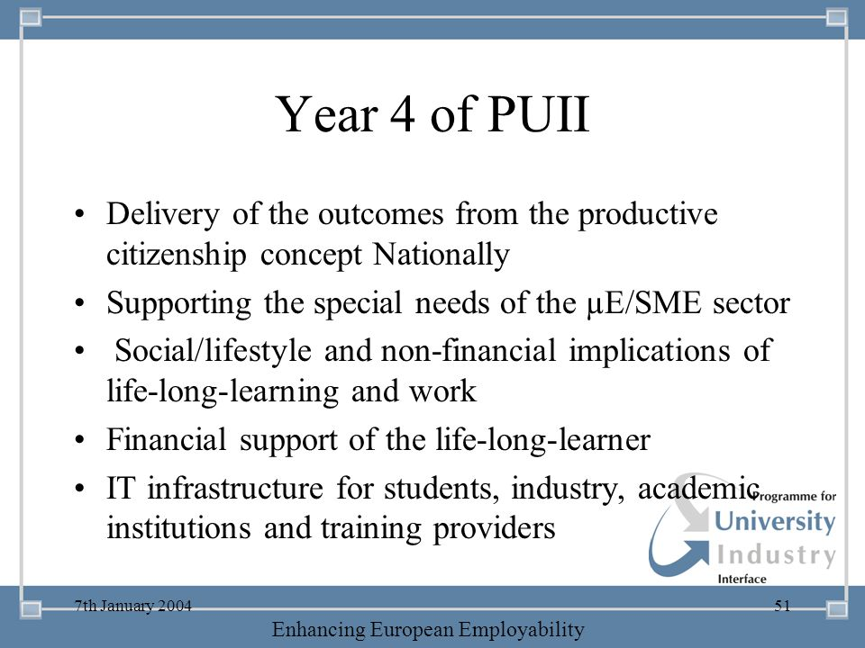 Year 4 of PUII Delivery of the outcomes from the productive citizenship concept Nationally. Supporting the special needs of the µE/SME sector.