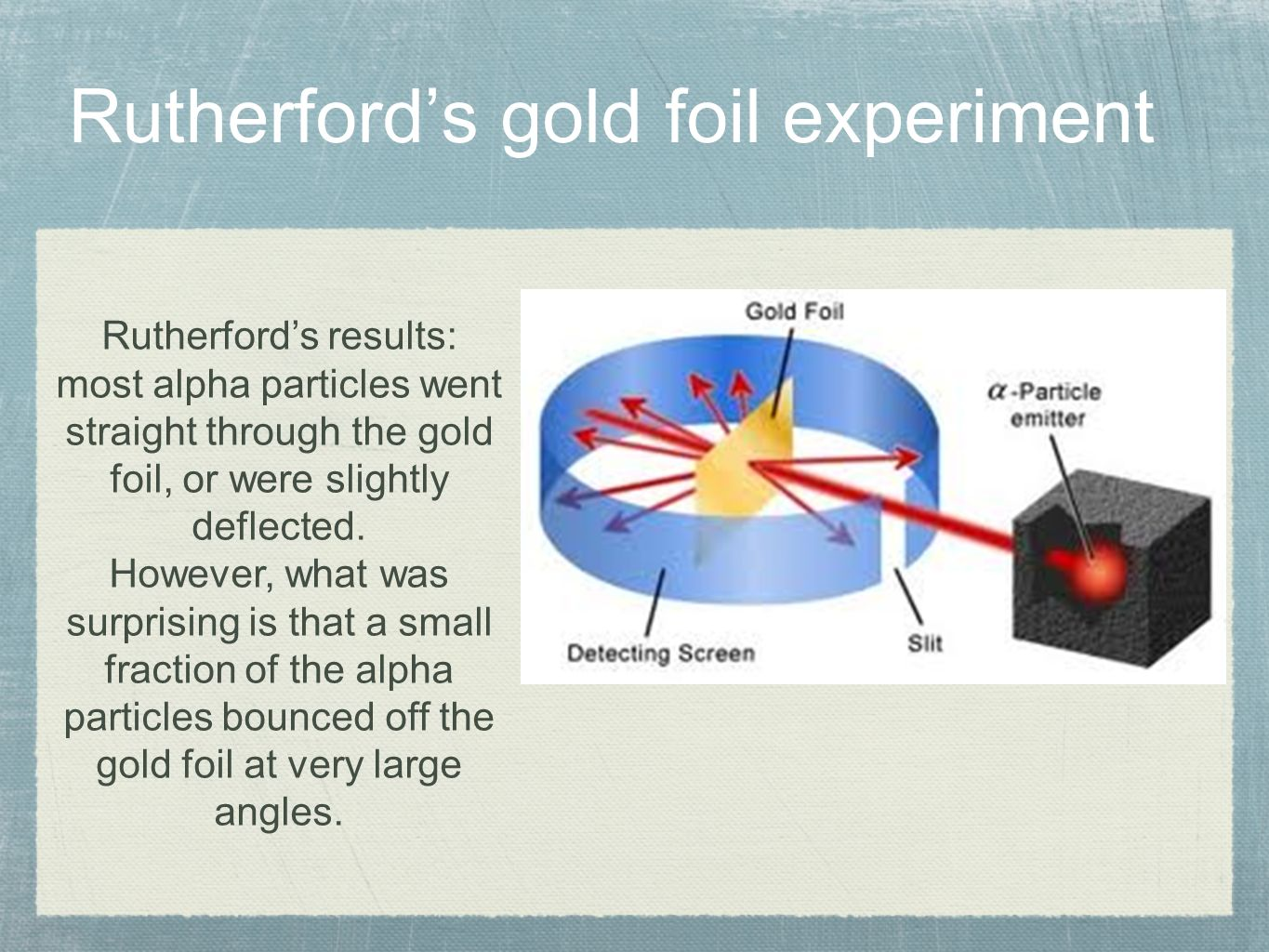 gold foil experiment From jmoney114 and physickwikispacescom i introduce to you ernest rutherford to many rutherford is known as the father of nuclear physics.