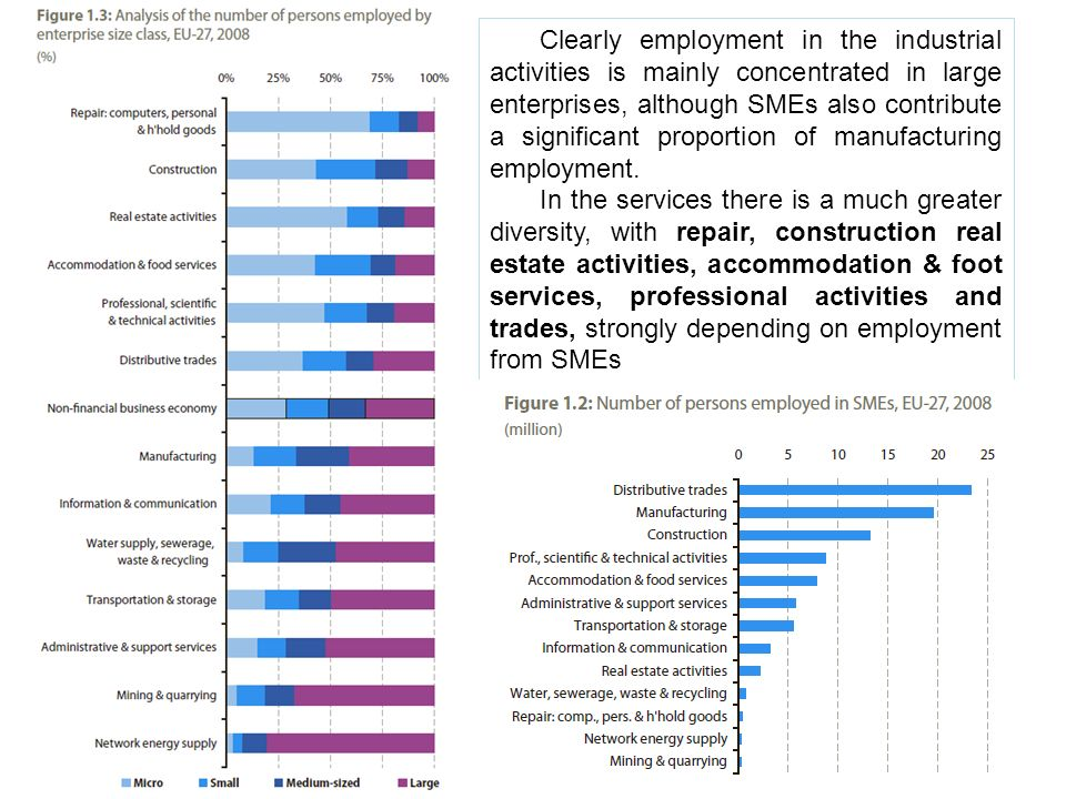 Clearly employment in the industrial activities is mainly concentrated in large enterprises, although SMEs also contribute a significant proportion of manufacturing employment.
