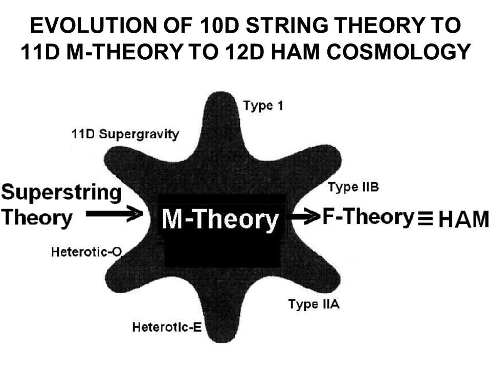EVOLUTION OF 10D STRING THEORY TO 11D M-THEORY TO 12D HAM COSMOLOGY