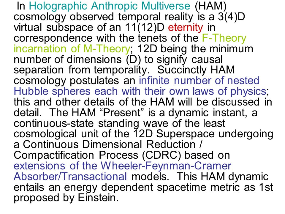 In Holographic Anthropic Multiverse (HAM) cosmology observed temporal reality is a 3(4)D virtual subspace of an 11(12)D eternity in correspondence with the tenets of the F-Theory incarnation of M-Theory; 12D being the minimum number of dimensions (D) to signify causal separation from temporality.